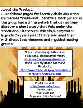 Myths, Legends, Fables, Fairytales Literary Pages