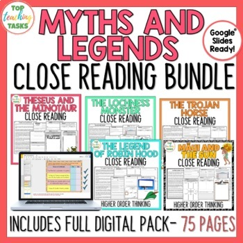 Myths and Legends - Close Reading Texts/Higher Order Thinking Activities (US/NZ)