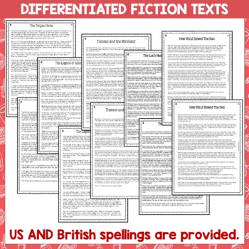 Myths and Legends Close Reading Comprehension Passages and Questions US NZ