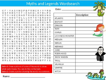 Myths and Legends Wordsearch Sheet Starter Activity Keywords Ancient History