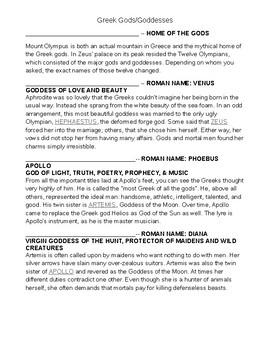 Myths and Mythology Notes