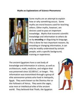 Myths as Explanations of Scientific Phenomenon