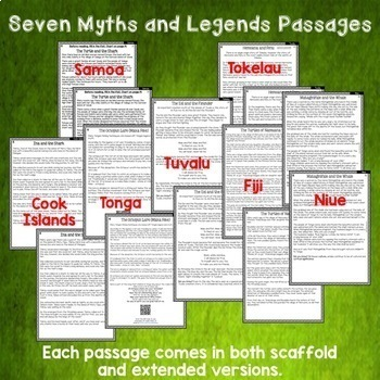 Myths of the Pacific Seven Close Reading Comprehension Passages and Questions