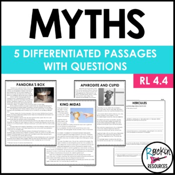 Myths with Differentiated Passages with Questions FOR CLOSE READING