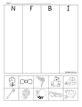 N, F, B & I beginning sounds review sheet