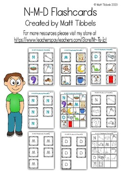 N - M - D Flash Cards for Memory or Sorting