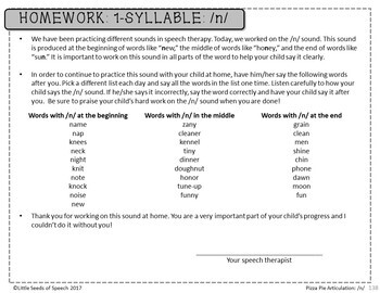 N SOUND Pizza Articulation Cards for Single & Multisyllabic Words & Sentences
