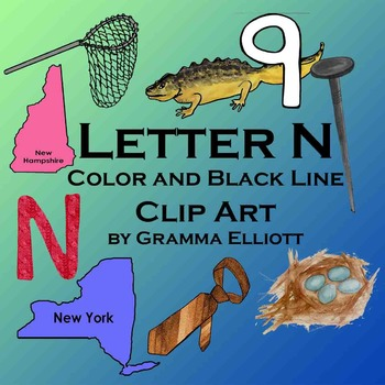 Letter N Clip Art - Phonics Beginning Letter N - Color and Black Line