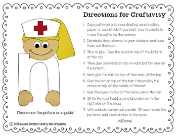 Letter N Craft Nurse By Crafty Bee Creations Tpt