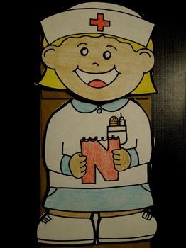 N is for Nurse paper bag puppet