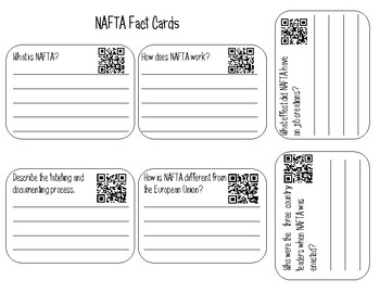 NAFTA Interactive Notebook Activity with QR Codes