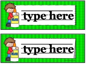 Editable Name Plates Gingham with Kids
