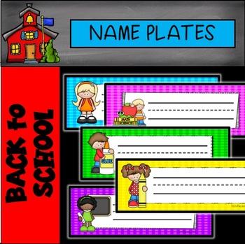 NAME PLATES: Editable Name Plates Gingham with Kids