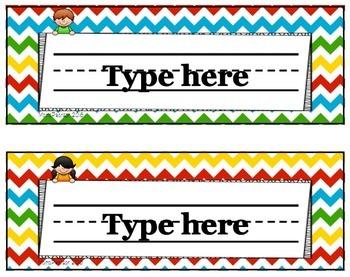 Editable Name Plates Kids Theme