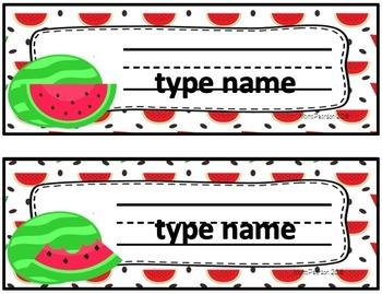 Editable Name Plates Watermelon Theme