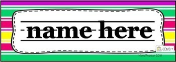FREE Editable Name Plates with Bright Colors