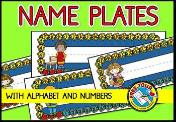 NAME PLATES WITH ALPHABET AND NUMBERS 1-10 : BACK TO SCHOOL DECOR