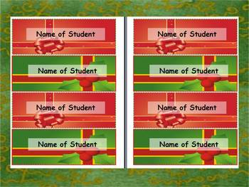 NAME TAG TEMPLATE for DESKS with CHRISTMAS THEME