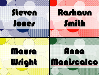 FREE - STUDENT NAME TAGS / NAME PLATES - Circle Style Name Labels / Signs