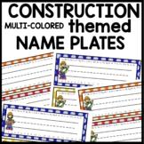 NAME TAGS Construction themed Classroom Theme Decor Printables