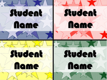 STUDENT NAME TAGS / NAME PLATES - Star Themed Name Labels / Signs