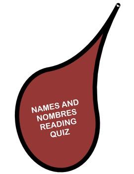 NAMES AND NOMBRES BY JULIA ALVAREZ ( Reading Comprehension Quiz)