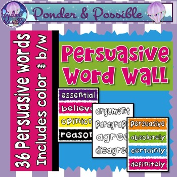 Persuasive Writing Word Wall