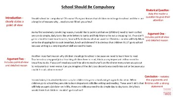 NAPLAN Persuasive Writing Stimulus and Example - Should School Be Compulsory?