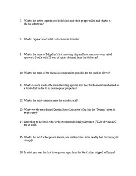 NAPOLEON'S BUTTONS Book Questions