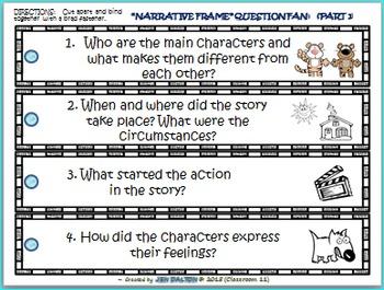 STORY ELEMENTS: 'NARRATIVE FRAME'  W/ BONUS QUESTION FAN & MORE  (12 PAGES)