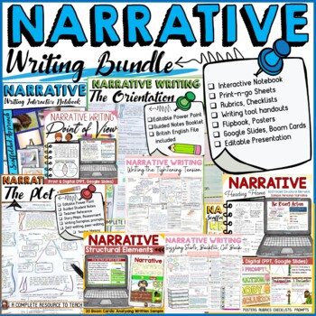 NARRATIVE WRITING BUNDLE:  INTERACTIVE NOTEBOOK, PRINT-N-GO SHEETS, HANDOUTS