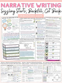 NARRATIVE WRITING BUNDLE:  INTERACTIVE NOTEBOOK, PRINT-N-GO SHEETS, HANDOUTS