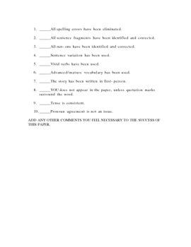 NARRATIVE WRITING PEER-CONFERENCE AND EDIT SHEET