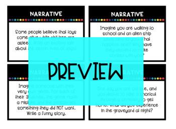 NARRATIVE Writing Task Cards and corresponding Choice Board / Writing Menu