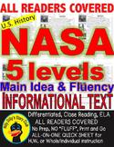 NASA FACTS CLOSE READING 5 LEVELED PASSAGES Main Idea Fluency Check TDQs & More
