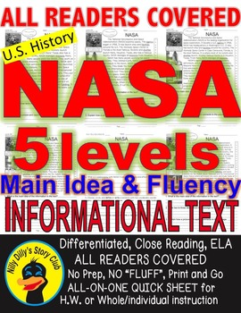 NASA FACTS CLOSE READING 5 LEVELED PASSAGES Main Idea Fluency Check TDQs & More
