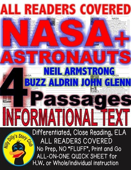 NASA & Famous Astronauts Close Read 5 Levels EACH Passages ALL-READERS-COVERED