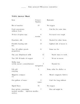 NASA Individual or Group Activity Worksheets