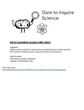 NASA Product Invention Project with Rubric