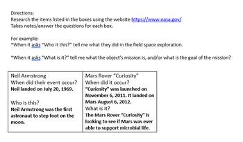 NASA Research & Sequencing Activity