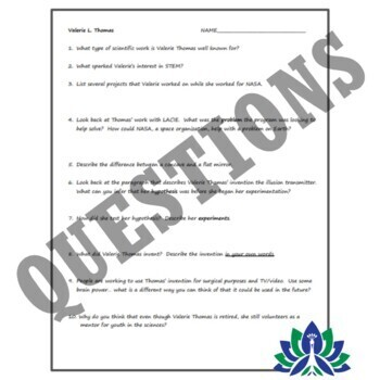 NGSS MS-ESS1 Astronomy & Space Reading & Worksheet: NASA Scientist Biography