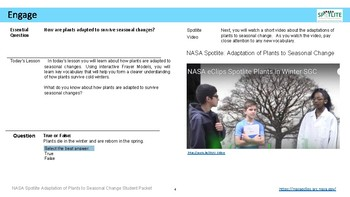 NASA Spotlite Lesson: Adaptation of Plants to Seasonal Change (Student Packet)
