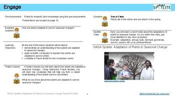 NASA Spotlite Lesson:  Adaptation of Plants to Seasonal Change (Teacher Guide)