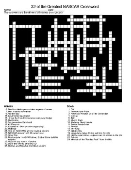 NASCAR Crossword and Word Search