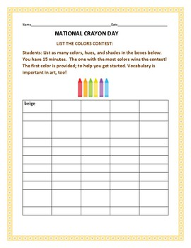NATIONAL CRAYON DAY: A VOCABULARY ACTIVITY/CONTEST