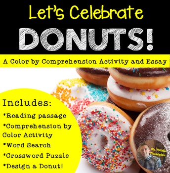 """Comprehension by Color- """"NATIONAL Donut Day"""" Activities for Grades 2-6"""