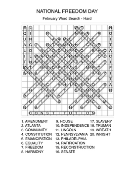 NATIONAL FREEDOM DAY Word Search - Black History - Early Finisher
