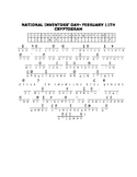 NATIONAL INVENTORS' DAY-FEBRUARY 11TH, A CRYPTOGRAM