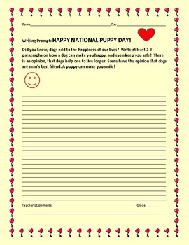 NATIONAL PUPPY DAY:WRITING PROMPT: ENJOYING THE BENEFITS OF A PET!