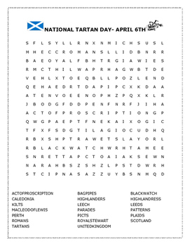 NATIONAL TARTAN DAY- APRIL 6TH- Word Search